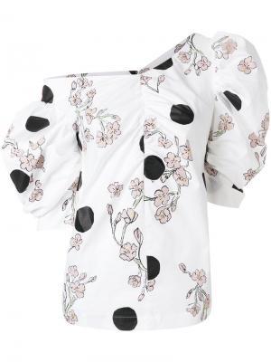 Асимметричная блузка с цветочным принтом Isa Arfen. Цвет: белый