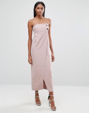 AQ Платье миди с пуговицами и разрезом спереди AQ/AQ. Цвет: розовый