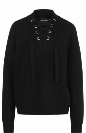 Пуловер из смеси шерсти и кашемира со шнуровкой Zadig&Voltaire. Цвет: черный