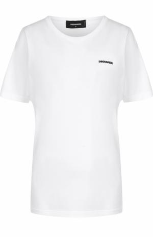 Хлопковая футболка с контрастной надписью Dsquared2. Цвет: белый