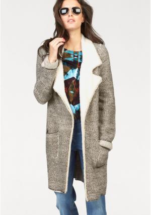 Пальто Aniston. Цвет: телесный/цвет белой шерсти/коричневый