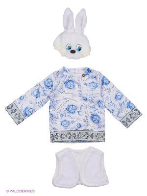 Карнавальный костюм Зайчонок Ванятка Батик. Цвет: белый, голубой