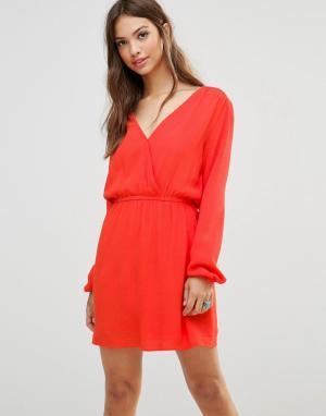 MinkPink Платье-туника с длинными рукавами. Цвет: оранжевый