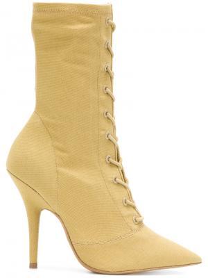 Ботильоны Season 6 на шнуровке Yeezy. Цвет: жёлтый и оранжевый