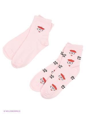Носки, 2 пары Гамма. Цвет: розовый
