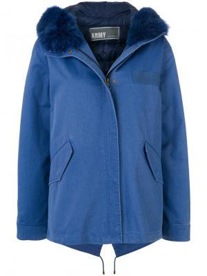 Джинсовая куртка с лисьим мехом Army Yves Salomon. Цвет: синий