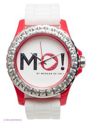 Часы Morgan. Цвет: белый, красный, серебристый