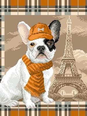 Рисунок на канве Французский бульдог в Париже Матренин Посад. Цвет: коричневый