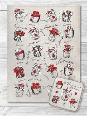 Набор кухонный Бабушкино варенье 2 GrandStyle. Цвет: светло-бежевый, красный, светло-серый