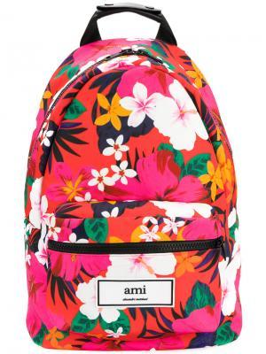 Рюкзак с тропическим принтом Ami Alexandre Mattiussi. Цвет: розовый и фиолетовый
