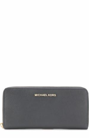 Кожаный кошелек на молнии с логотипом бренда MICHAEL Kors. Цвет: черный