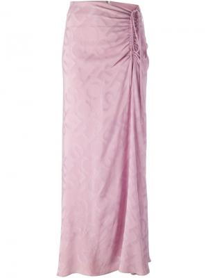 Драпированная юбка со сборкой Jean Louis Scherrer Vintage. Цвет: розовый и фиолетовый