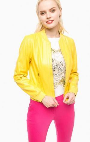 Желтая кожаная куртка на молнии Liu Jo. Цвет: желтый