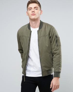 Hollister Саржевая куртка‑пилот оливкового цвета. Цвет: зеленый