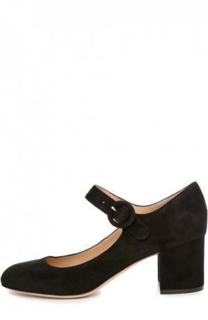 Замшевые туфли на устойчивом каблуке Gianvito Rossi. Цвет: черный