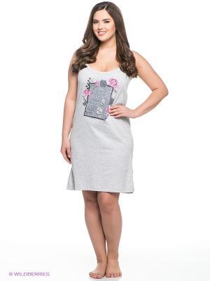 Сорочка Vienetta Secret. Цвет: светло-серый