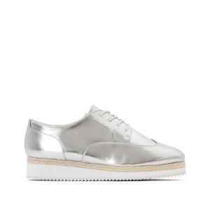 Ботинки-дерби со шнуровкой на платформе, размер 38-45 CASTALUNA. Цвет: серебристый