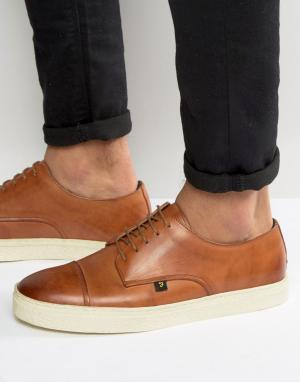 Farah Кожаные кроссовки со вставкой на носке Dawson. Цвет: рыжий