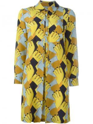 Платье-рубашка с геометрическим принтом  LAutre Chose L'Autre. Цвет: жёлтый и оранжевый