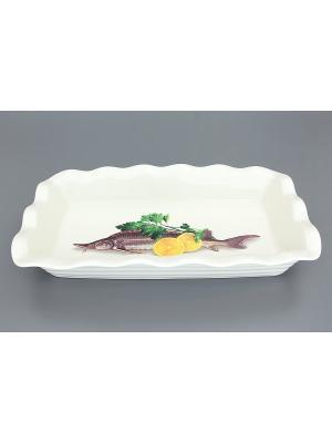 Блюдо для заливного Осетр Elan Gallery. Цвет: белый, желтый, серый