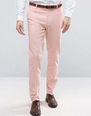 ASOS Розовые брюки зауженного кроя. Цвет: розовый