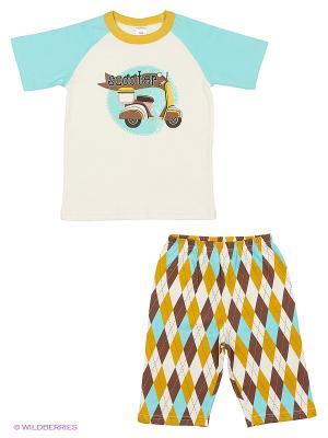 Пижама Модамини. Цвет: голубой, горчичный