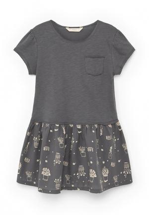 Платье Mango Kids. Цвет: серый