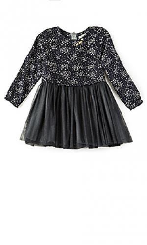 Платье-рубашка из тюля IKKS Paris. Цвет: синий