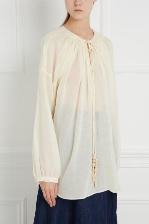 Блузка из хлопка и льна Veronique Branquinho. Цвет: кремовый