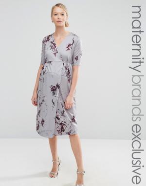 Hope and Ivy Maternity Платье миди для беременных с запахом и бантом спереди & Mater. Цвет: красный
