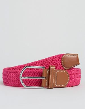 7X Узкий плетеный ремень. Цвет: розовый