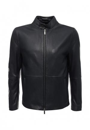 Куртка кожаная Boss Hugo. Цвет: синий
