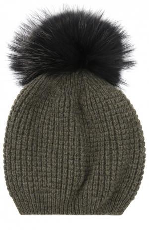 Кашемировая шапка с помпоном из меха енота Kashja` Cashmere. Цвет: хаки