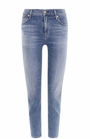 Укороченные джинсы-скинни с потертостями Citizens Of Humanity. Цвет: голубой