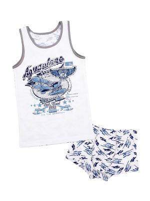 Майка, шорты Апрель. Цвет: белый, синий, серый