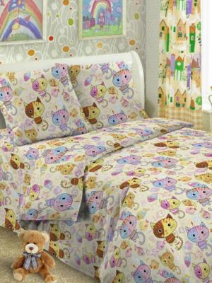Комплект в кроватку Ясли BGR-54, бязь, простыня на резинке Letto. Цвет: бежевый
