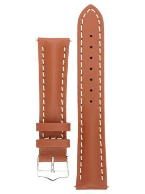 Водонепроницаемый ремешок для часов из кожи теленка с покрытием от царапин, ширина 18 до 24 мм Signature. Цвет: светло-коричневый