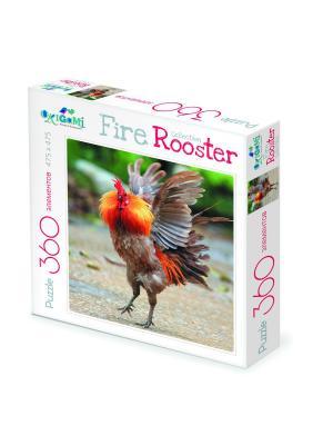 Пазл Символ Года. FireRooster Бойцовый петух. Origami. Цвет: коричневый, красный, оранжевый
