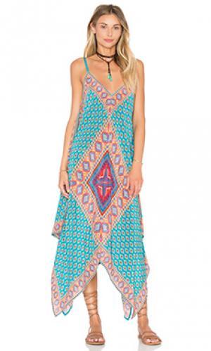 Платье drew Tolani. Цвет: бирюзовый