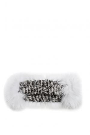 Повязка на голову с отделкой из меха песца SO-Pastel A1.0.14 Mooffi. Цвет: белый