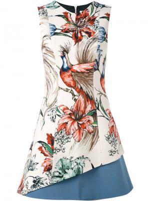 Платье с принтом птицы Fausto Puglisi. Цвет: телесный