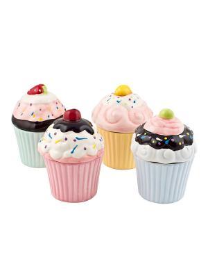 Набор из 4-х банок Biscuits Elff Ceramics. Цвет: желтый, зеленый, голубой, розовый