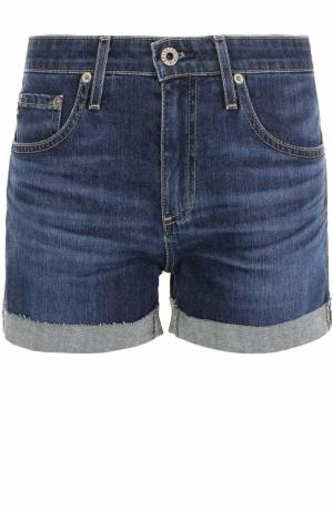 Джинсовые мини-шорты с потертостями Ag. Цвет: синий