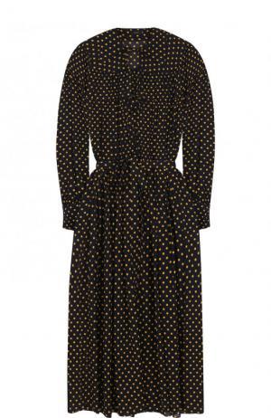 Приталенное шелковое платье-миди в горох Joseph. Цвет: темно-синий