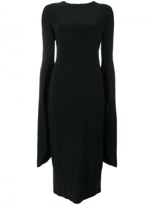 Платье с асимметричными рукавами Norma Kamali. Цвет: чёрный