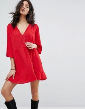 BA&SH Свободное платье. Цвет: красный