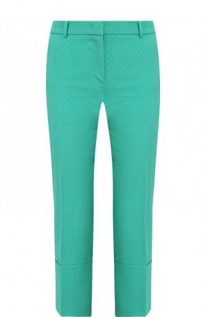 Однотонные укороченные брюки из смеси хлопка и шерсти со стрелками Emilio Pucci. Цвет: зеленый