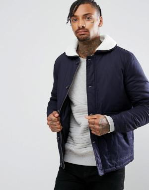 Another Influence Куртка с воротником из искусственного меха. Цвет: темно-синий