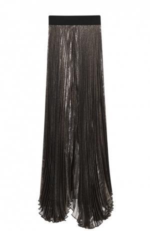 Плиссированная юбка-макси с металлизированной отделкой Alice + Olivia. Цвет: черный