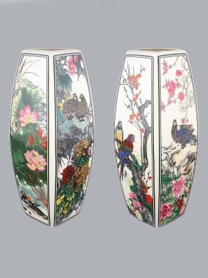 Ваза Птицы в цветах Elan Gallery. Цвет: белый, синий, зеленый, розовый